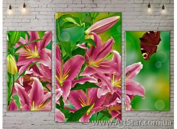 Модульные Картины Цветы, Art. FLOW777041
