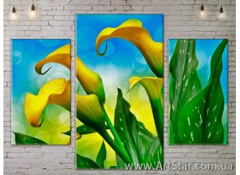 Модульные Картины Цветы, Art. FLOW777057