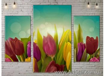 Модульные Картины Цветы, Art. FLOW777059