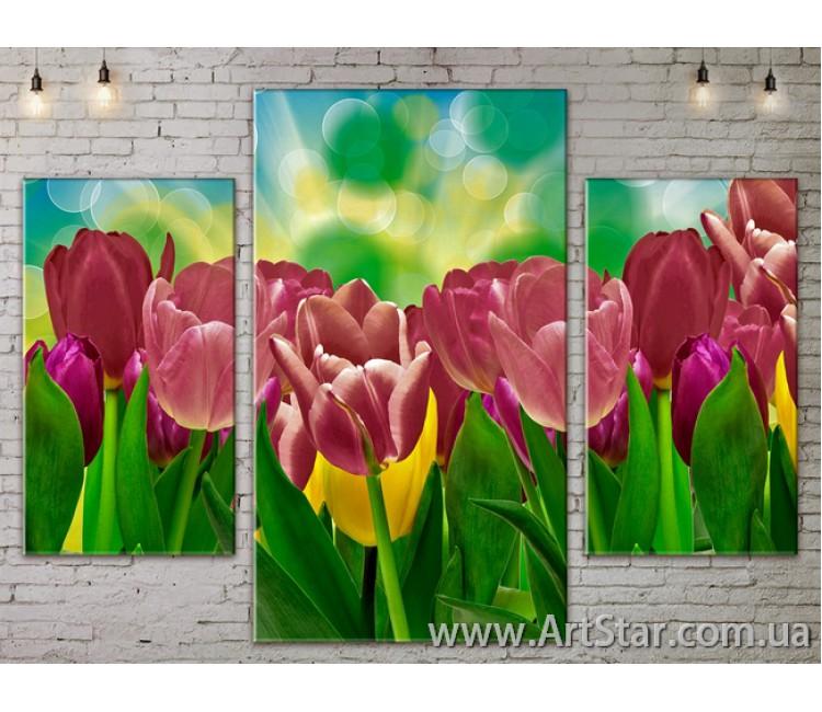 Модульные Картины Цветы, Art. FLOW777067