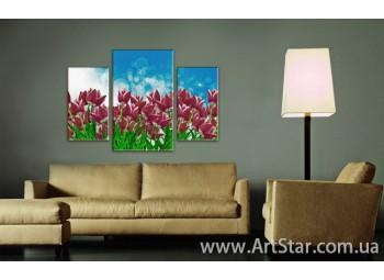 Модульные Картины Цветы, Art. FLOW777105