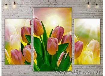 Модульные Картины Цветы, Art. FLOW777165