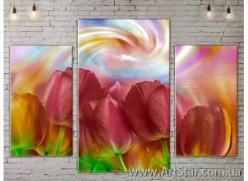 Модульные Картины Цветы, Art. FLOW777195