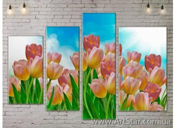 Модульные Картины, Цветы, Art. FLOW777410