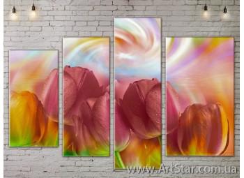 Модульные Картины, Цветы, Art. FLOW777478