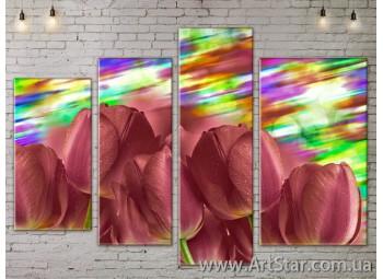 Модульные Картины, Цветы, Art. FLOW777516