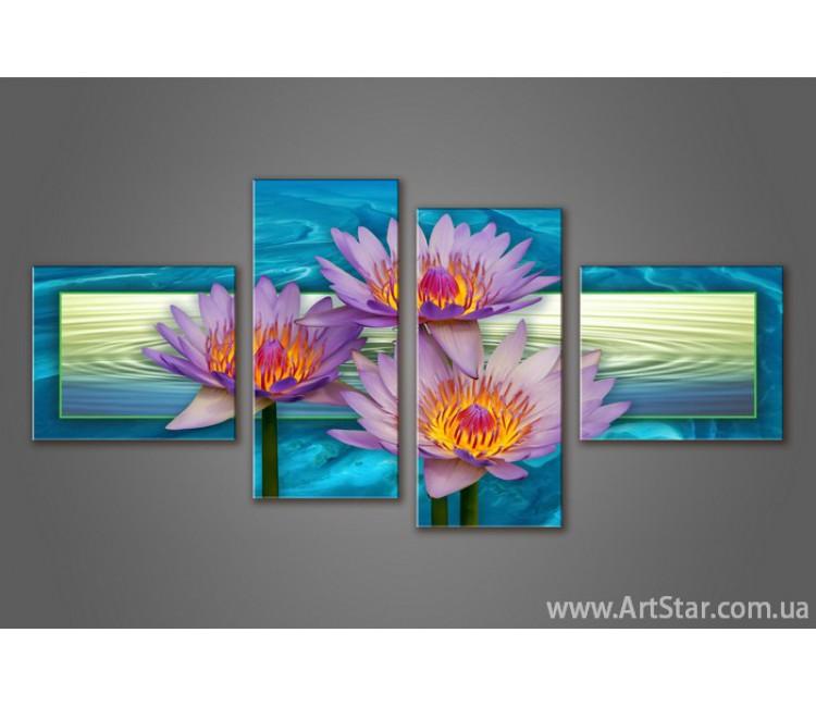 Модульная картина Цветы Лилии (4) 2