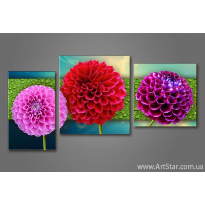 Модульная картина Цветы Удачи 777