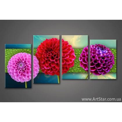 Модульная картина Цветы Удачи 777 (4)
