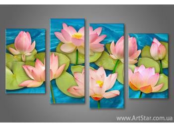 Модульная картина Цветы Кувшинки (4)