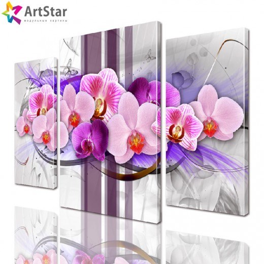 Картина модульная | Розовая орхидея
