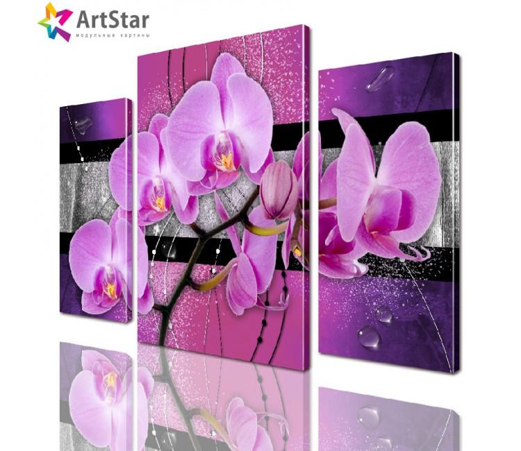 Картина модульная | Орхидея на фиолетовом фоне