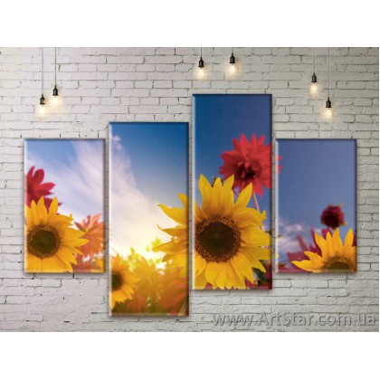 Модульные Картины Цветы, Art. FLWM0071