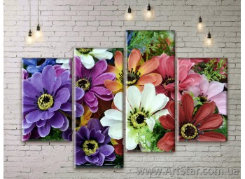 Модульные Картины Цветы, Art. FLWM0101