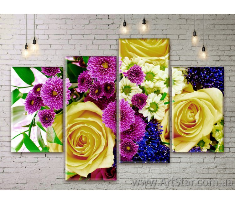 Модульные Картины Цветы, Art. FLWM0253