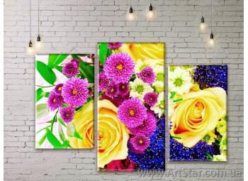 Модульные Картины Цветы, Art. FLWM0257