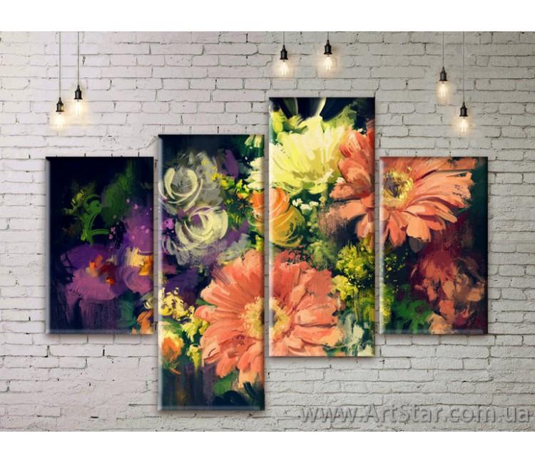 Модульные Картины Цветы, Art. FLWM0361