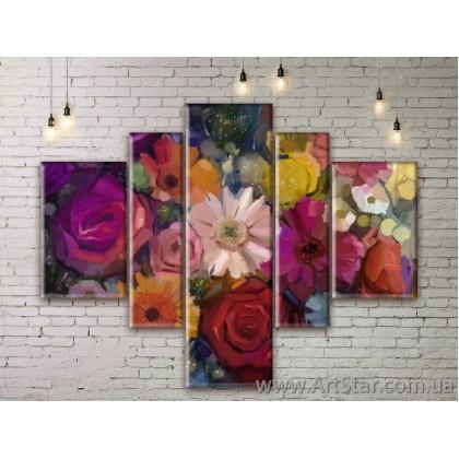 Модульные Картины Цветы, Art. FLWM0385
