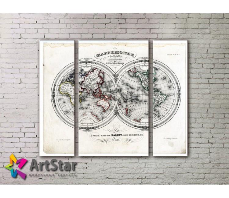 Модульные Картины, древние карты, Art. MAP_0001-3