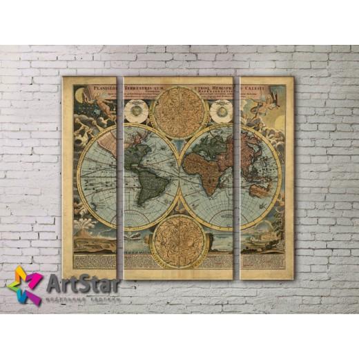 Модульные Картины, древние карты, Art. MAP_0003-3