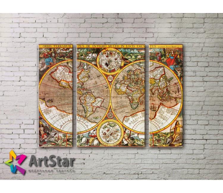 Модульные Картины, древние карты, Art. MAP_0005-3