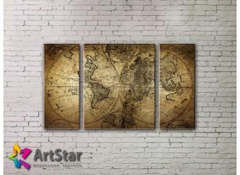 Модульные Картины, древние карты, Art. MAP_0007-3