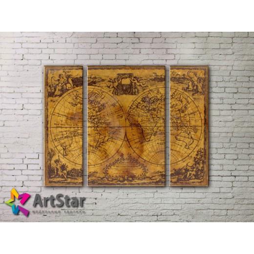 Модульные Картины, древние карты, Art. MAP_0009-3