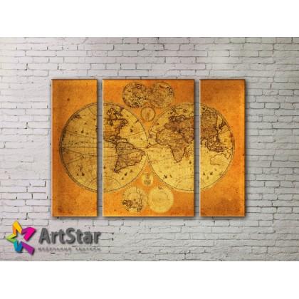 Модульные Картины, древние карты, Art. MAP_0013-3