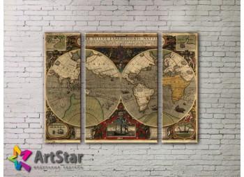 Модульные Картины, древние карты, Art. MAP_0015-3