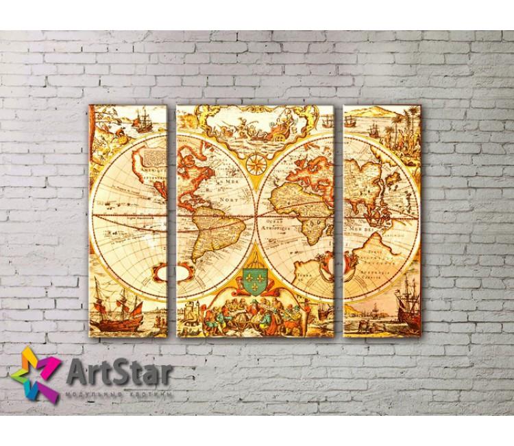 Модульные Картины, древние карты, Art. MAP_0017-3