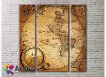 Модульные Картины, древние карты, Art. MAP_0023-3