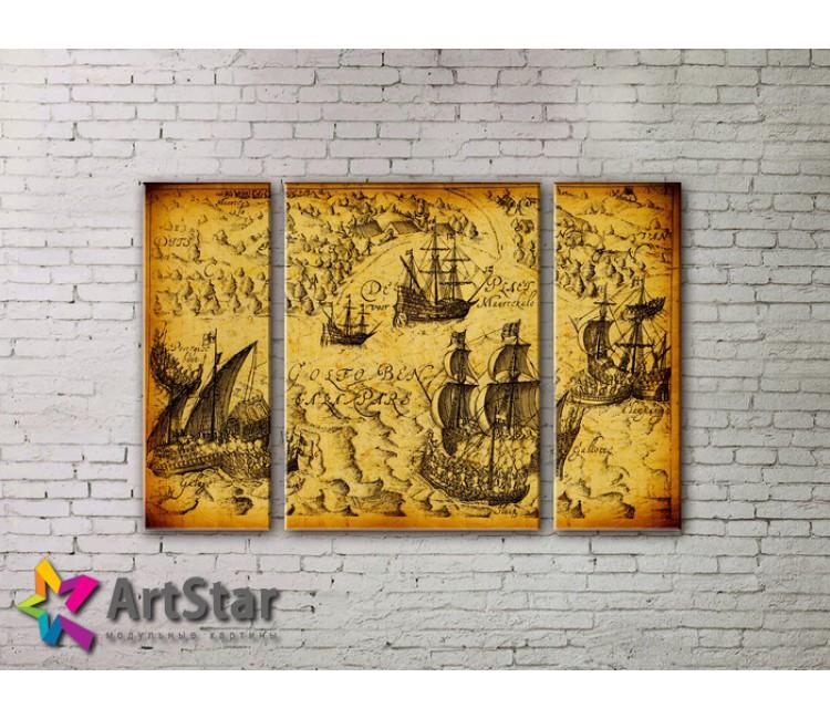 Модульные Картины, древние карты, Art. MAP_0025-3
