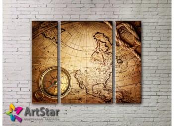 Модульные Картины, древние карты, Art. MAP_0027-3