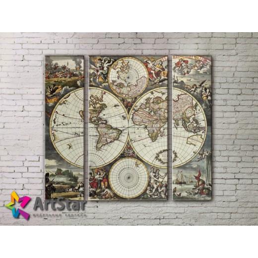 Модульные Картины, древние карты, Art. MAP_0033-3