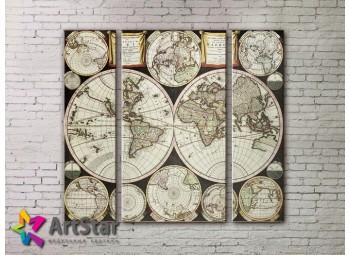 Модульные Картины, древние карты, Art. MAP_0035-3