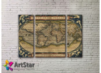 Модульные Картины, древние карты, Art. MAP_0039-3