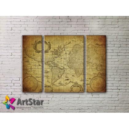 Модульные Картины, древние карты, Art. MAP_0045-3