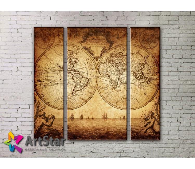 Модульные Картины, древние карты, Art. MAP_0049-3