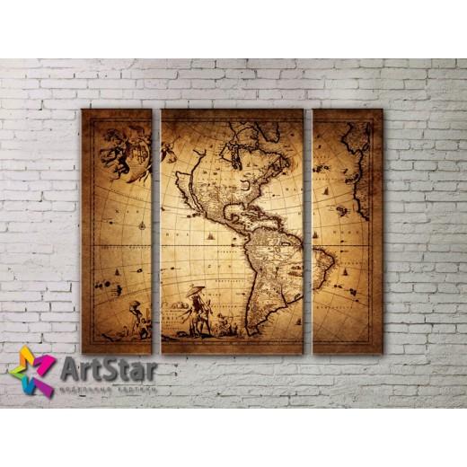 Модульные Картины, древние карты, Art. MAP_0053-3