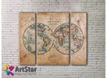 Модульные Картины, древние карты, Art. MAP_0055-3