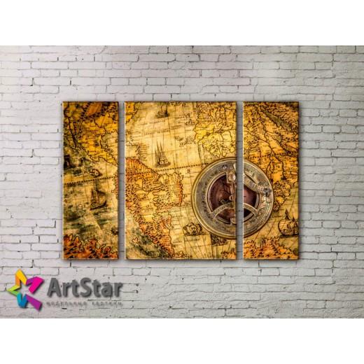 Модульные Картины, древние карты, Art. MAP_0057-3