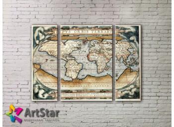 Модульные Картины, древние карты, Art. MAP_0063-3