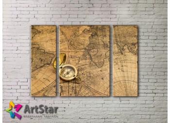 Модульные Картины, древние карты, Art. MAP_0067-3