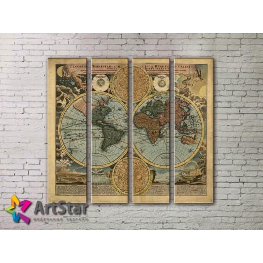 Модульные Картины, старинные карты, Art. MAP0003-4