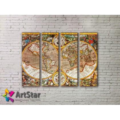 Модульные Картины, старинные карты, Art. MAP0005-4