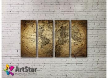Модульные Картины, старинные карты, Art. MAP0007-4