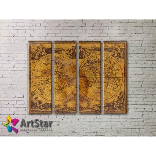 Модульные Картины, старинные карты, Art. MAP0009-4