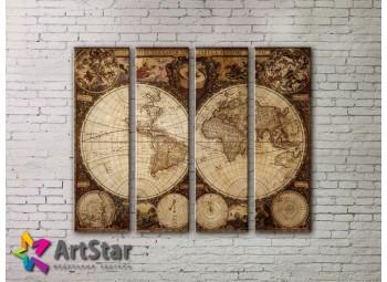 Модульные Картины, старинные карты, Art. MAP0011-4