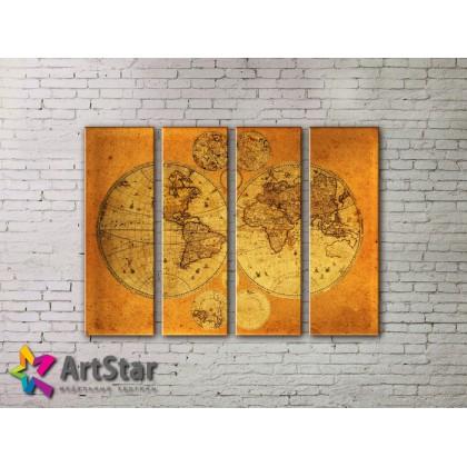 Модульные Картины, старинные карты, Art. MAP0013-4