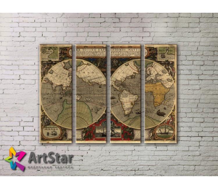 Модульные Картины, старинные карты, Art. MAP0015-4